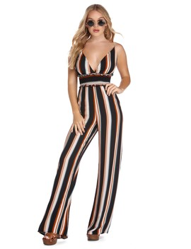 Striped And Smocked Jumpsuit by Windsor
