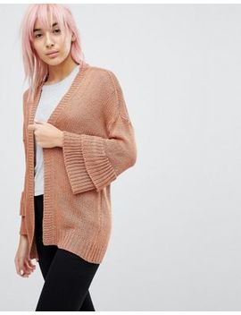 Brave Soul Frill Sleeve Cardigan In Chenille by Cardigan