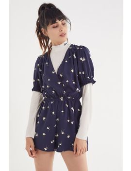 Uo Surplice Smocked Sleeve Romper by Urban Outfitters