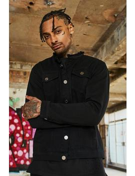 Dele Black Collarless Denim Jacket by Boohoo