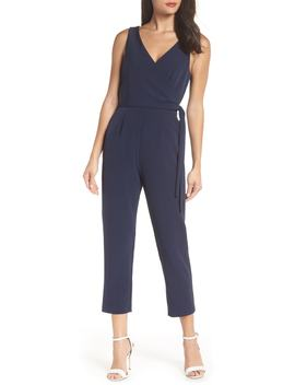 Faux Wrap Jumpsuit by Charles Henry