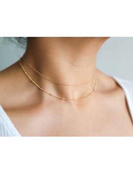 Gold Choker Set / Satellite Choker / Dainty Choker Necklace / 14k Gold Filled Beaded Necklace / Layering Necklace / Delicate Necklace Set by Simple Dainty Jewelry