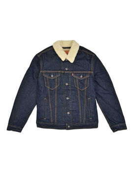 Levis Sherpa Jacket Button Up Denim Jeans Trucker Dark Blue by Levi's