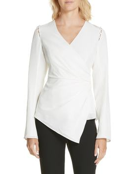 Joanna Button Shoulder Silk Blouse by Amur