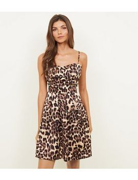 cameo-rose-brown-leopard-print-bustier-satin-dress by new-look