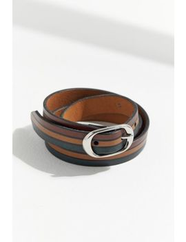 Striped Leather Belt by Urban Outfitters