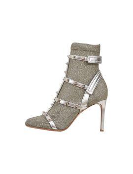 Valentino Garavani 8,5 Cm Rockstud Boots Silver by Valentino Garavani