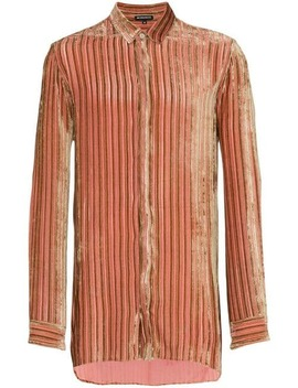Ann Demeulemeestervelvet Stripe Silk Cashmere Blend Shirthome Men Ann Demeulemeester Clothing Shirts by Ann Demeulemeester