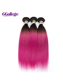 T1 B/Pink Brazilian Hair Straight Hair Bundles 3 Pices Weft Color 14 24 Inch 100 Percents Remy Human Hair Weaves Free Shipping Ccollege by C College