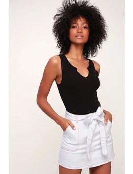 Whatever You Like Light Wash Tie Waist Denim Mini Skirt by Lulu's