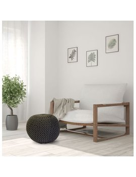 Woven Round Pouf by Unbranded