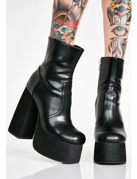 Midnight Baddie Behavior Platform Boots by Current Mood