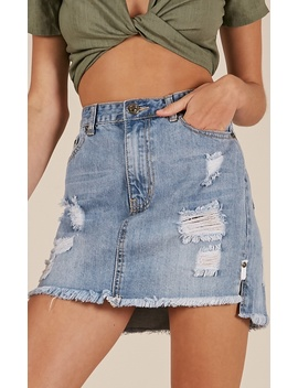 Capital Letters Denim Skirt In Mid Wash by Showpo Fashion