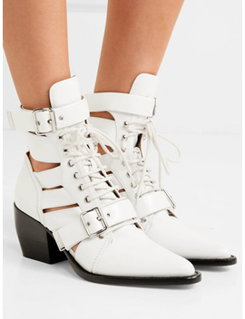 White Lace Up Cut Out Detail Chic Women Pointed Toe Ankle Boots by Choies