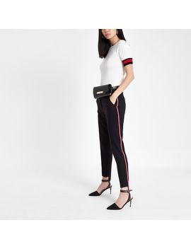 Black Side Stripe Cigarette Trousers by River Island