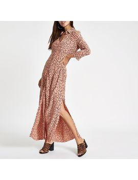 Brown Spot Print Shirt Maxi Dress by River Island