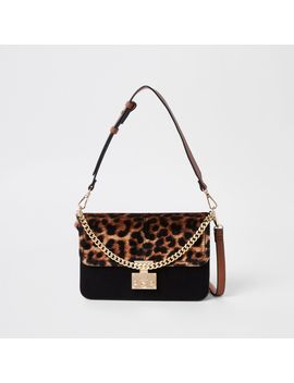 Beige Leopard Print Lock Front Underarm Bag                                    Beige Cutabout Leopard Print Fold Out Purse by River Island