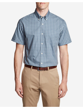 Men's Wrinkle Free Relaxed Fit Short Sleeve Pinpoint Oxford Shirt   Blues by Eddie Bauer