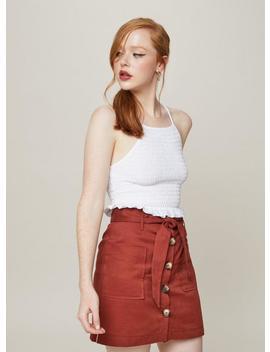 Rust Paper Bag Skirt by Miss Selfridge