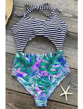 No Regret Halter One Piece Swimsuit by Cupshe