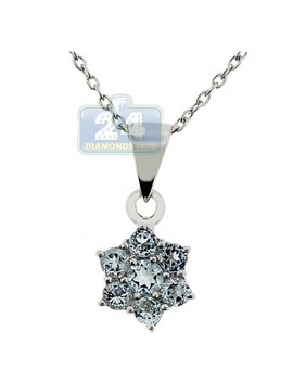 925 Sterling Silver 0.60 Ct Topaz Flower Pendant Womens Necklace by 24diamonds