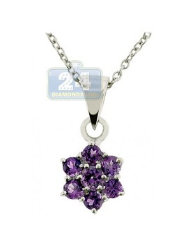925 Sterling Silver 0.60 Ct Amethyst Flower Pendant Womens Necklace by 24diamonds