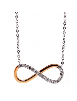 18 K Two Tone Gold 0.16 Ct Diamond Infinity Pendant Necklace by 24diamonds