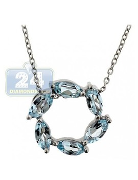 925 Sterling Silver 1.80 Ct Topaz Circle Of Love Pendant Necklace by 24diamonds
