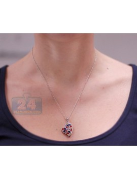 925 Sterling Silver 3.03 Ct Gemstone Heart Pendant Womens Necklace by 24diamonds