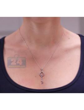 925 Sterling Silver 0.23 Ct Diamond Key Pendant Womens Necklace by 24diamonds