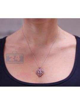 Sterling Silver 0.52 Ct Tanzanite Topaz Heart Pendant Necklace by 24diamonds