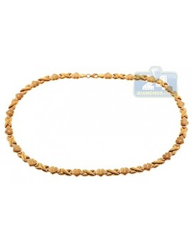 10 K Yellow Gold Womens Heart Chain Necklace 17 1/2 Inches by 24diamonds