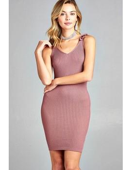 Ladies Fashion Sleeveless Double V Neck W/Strap Ribbon Tie Sweater Dress Id.35400b by 599 Fashion