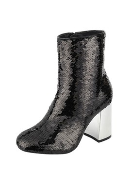 Ladies Fashion Sequenced Combat Ankle Boot, Closed Round Toe, Block Heel, Zipper Closure Id.34173 by 599 Fashion