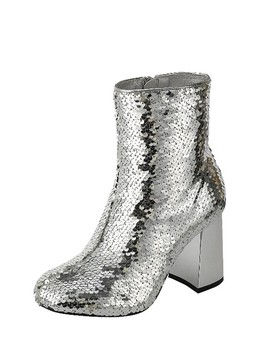 Ladies Fashion Sequins Ankle Boot, Closed Almond Toe Block Heel, With Zipper Closure Id.34022a by 599 Fashion