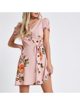 Petite Pink Floral Button Through Mini Dress by River Island