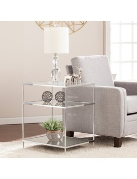 Southern Enterprises Knox Glam Mirrored Side Table   Chrome by Southern Enterprises
