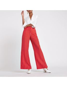 Red Stripe Print Wide Leg Trousers by River Island