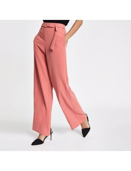 Pink Slim Fit Wide Leg Trousers by River Island