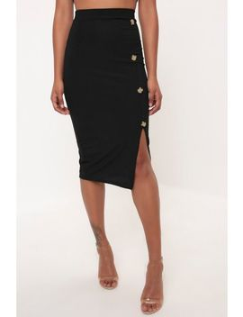 Black Button Detail Ribbed Midi Skirt by Trendeo
