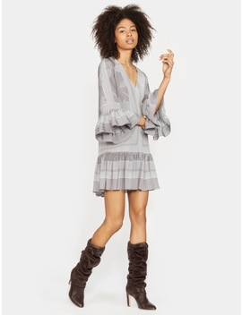 Printed Long Sleeve Ruched Dress by Halston
