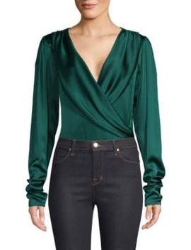 Berdine Stretch Silk Wrap Bodysuit by Caroline Constas