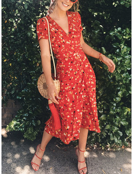 Red V Neck Floral Print Puff Sleeve Midi Dress by Choies