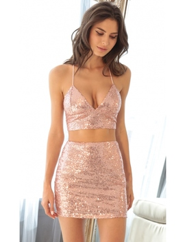 Bel Air Two Piece Set In Sequin Rose by Lucy In The Sky