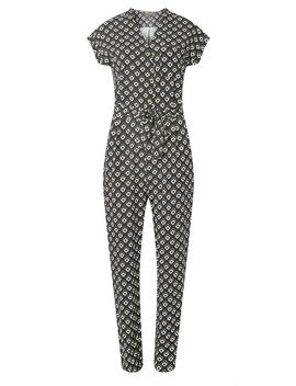 Navy Geometric Horn Button Jumpsuit by Dorothy Perkins