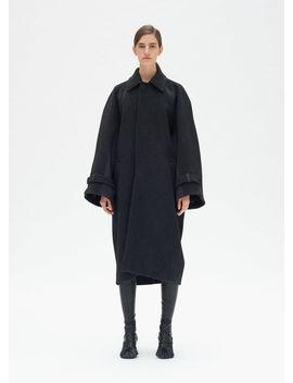 Oversize Masculine Coat In Herringbone Wool by Celine