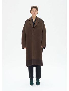 Oversize Tailored Coat In Herringbone Wool by Celine