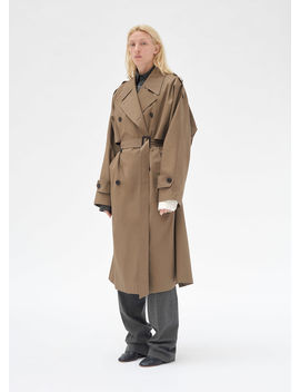 Double Breasted Trench Coat In Light Cotton by Celine