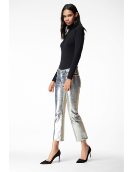 Selena Mid Rise Cropped Boot Cut In Gold Snake Leather by J Brand