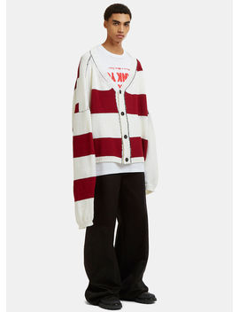 Disturbed Striped Knit Cardigan In White And Red by Raf Simons